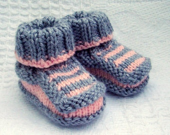 Hand knit baby booties - Striped Booties