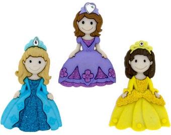 Pretty Princess Plastic Buttons / Sewing supplies / DIY craft supplies / Novelty Buttons / Party Supplies / Kids craft supplies