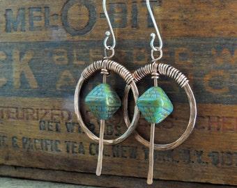 Turquoise Blue Earrings, Copper Hoop Earrings, Hammered Hoops, Boho Earrings