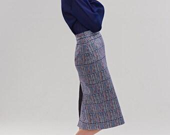Pencil skirt Blue skirt Knee length midi skirt Plaid skirt Tartan skirt Plus size Skirt by Mrs Pomeranz