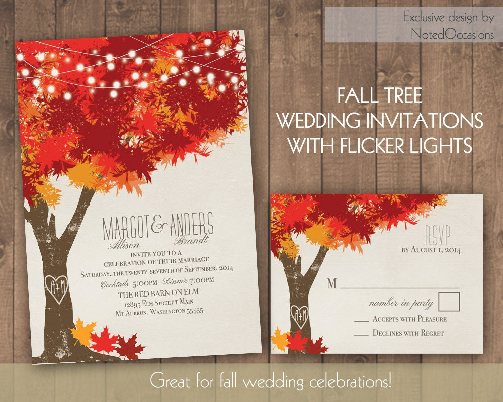 Wedding And Reception Invitations: Fall Wedding Invitations Autumn Oak Tree Wedding With Rustic