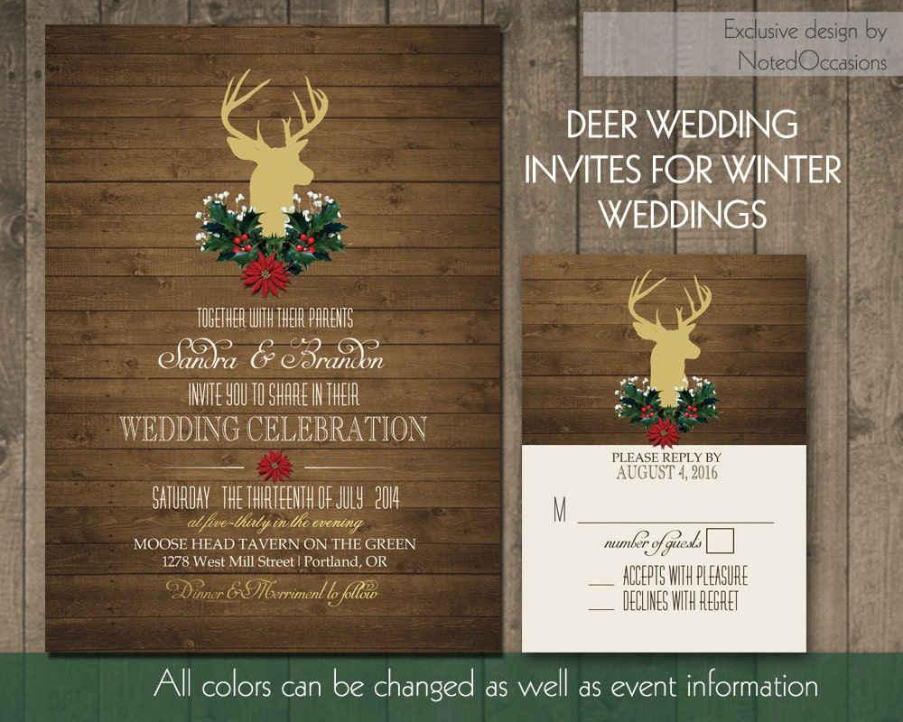 Deer Wedding Invitations: Rustic Country Winter Wedding Invitations Deer By