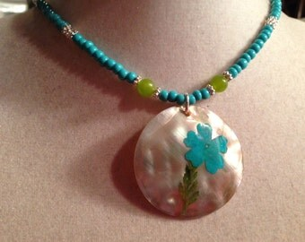 Turquoise Necklace - Turquoise Jewelry - Silver Jewelry - Pendant Jewellery - Fashion - Beaded - Flower - Green Jade Gemstone