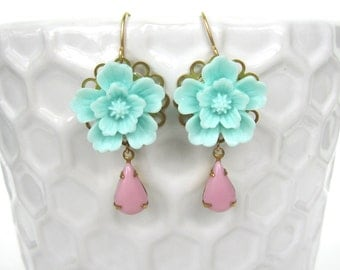 Aqua Flower and Vintage Pink Crystal Earrings - Retro, Glam, Floral
