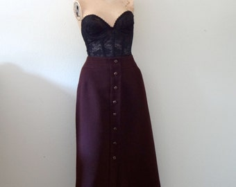 1970s Button Front Skirt / deep plum wool a-line / vintage fall & winter fashion