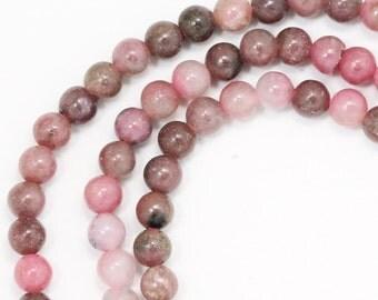 Rhodonite Beads - 3mm Round