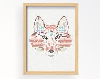 Tutorial FOX WILD/ cross stitch pattern .pdf / instant download