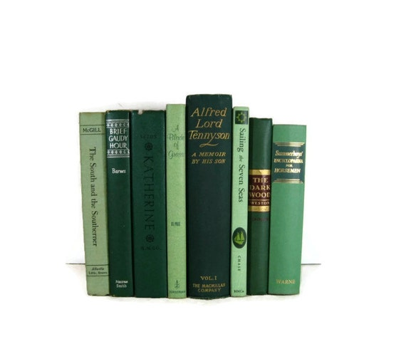 Vintage book  instant collection  Green    Books Old Books for Home Decor