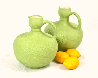 Green Pitchers Vases Pair Stoneware Set 1970's Vintage Floral Handmade Pottery Retro Mantle Decor Decanters