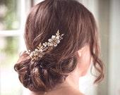Gold bridal hair comb pair - VESPER - gold headpiece, woodland headpiece, gold hair combs, boho headpiece, brass bridal combs