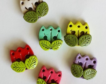 Button Antique Stained Tulips handmade polymer clay buttons ( 6 )