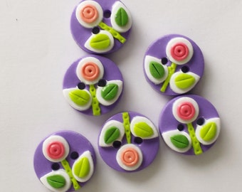 Button May Flowers handmade polymer clay button set    ( 6 )