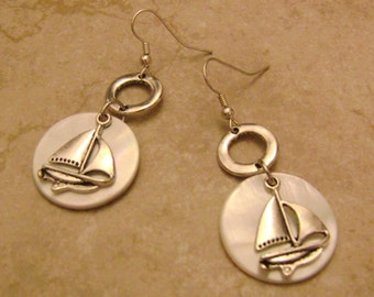 Nautical Mother Of Pearl Silver Sailboat Charm Earrings