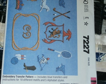 Vintage 1960s Vintage McCall's Transfer Pattern 7227 for Embroidery Transfer Design Motifs and Alphabet uncut