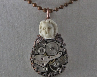 Steampunk Lady Margaret's Time Talisman Doll Head Timepiece Necklace