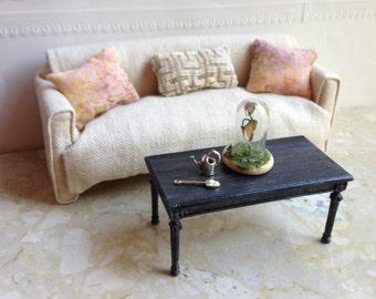 Black cerused oak coffee table  - Dollhouse Size