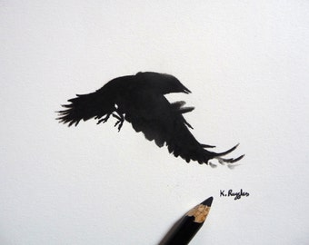 Jackdaw original charcoal sketch, crow drawing, charcoal drawing, pencil drawing, crow art, gothic art, wildlife art, bird drawing, original