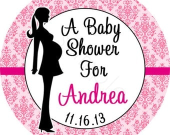 Baby Shower Mommy To Be Silhouette Personalized Stickers - Party Favor Labels, Pregnant Woman - Pink Damask - Choice of Size