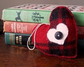 Red Plaid Plush Heart Ornament