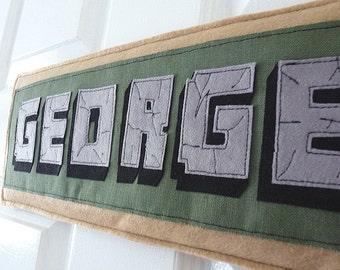 Personalized Kid's minecraft name plaque name banner door hanger felt name sign