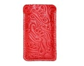 Holding for AF Floral Embossed Red Leather iPhone 4, 5, 6, iPad Air, iPad Mini Sleeve