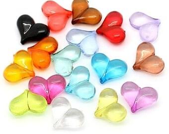 100 Heart Beads Colorful Kitschy Fun K144