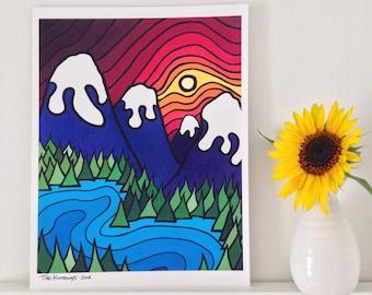 "Sale. The Kootenays Art Print 8x 10"" --Buy Any 2 Prints & Get a 3rd FREE--BC fine art print. Landscape."