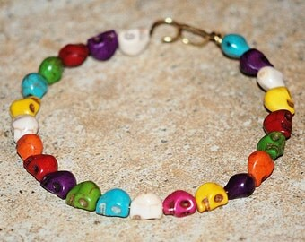 Colorful Skulls Bracelet, Day of the Dead bracelet