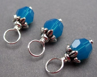 Swarovski Caribbean Blue Crystals Wire Wrapped Bead Dangles Charms with Flower Leaf Bead Cap 6mm