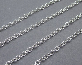 "Sterling Silver Necklace Chain,  Medium Weight Cable Chain, Finished Necklace Chain, You Choose The Length, 14"", 16"" 17"", 18"", 20"", 24"", 36"""