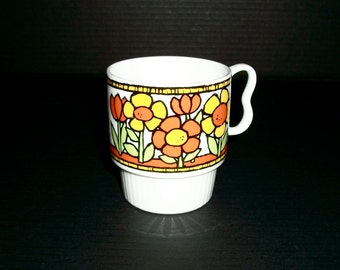 Vintage Two Finger Porcelain Coffee Tea Cup Lovely Yellow And Orange Flowers