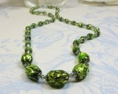 Vintage Green Bohemian Foil Bead Necklace, Restrung and Remodelled Vintage Bohemian Green Silverfoiled Bead Necklace, Grass Green Necklace