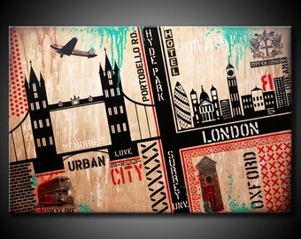 London City MADE TO ORDER Original Abstract Painting Urban Skyline Modern 24x36 Canvas Black Teal Red Fine Art by Federico Farias