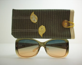 Eyeglass or Sunglass case in olive with yellow birds