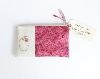 Baby Shower Hostess Gift, Personalized Clutch with Initial, Hostess Thank You Gift Pink Floral Initial Clutch MADE to ORDER MamaBleuDesigns