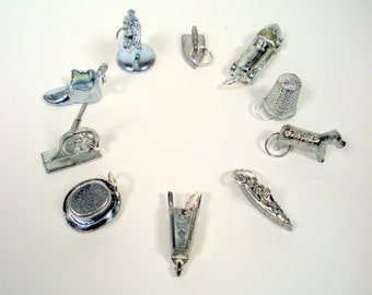 Upcycled Monopoly Game Pieces, Charms Pendant/Necklace/Keychain/Phone Charm, Recycled Pewter Game Pieces