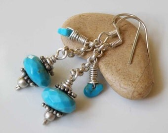 Turquoise gemstone earrings - wire wrapped with Sterling Silver - faceted beads - Silver stars - Natural healing gemstones