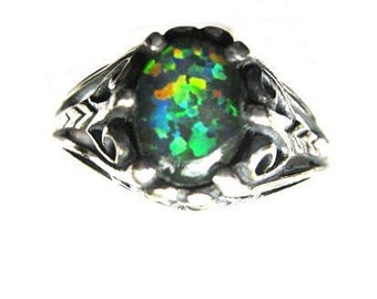 Man Made Opal Triplet Sterling Silver Ring black fire red green blue antiqued filigree handmade custom size 4 5 6 7 8 9 10 half fine jewelry