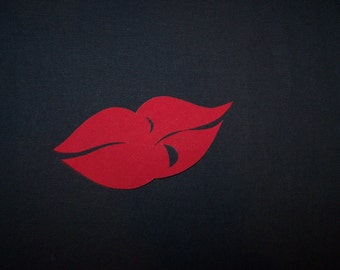 """Lips Iron on Applique,  5 1/4"""" Wide In Either Red Or Pink ,  Fabric-Iron On Appliques - Search my shop for more lips"""