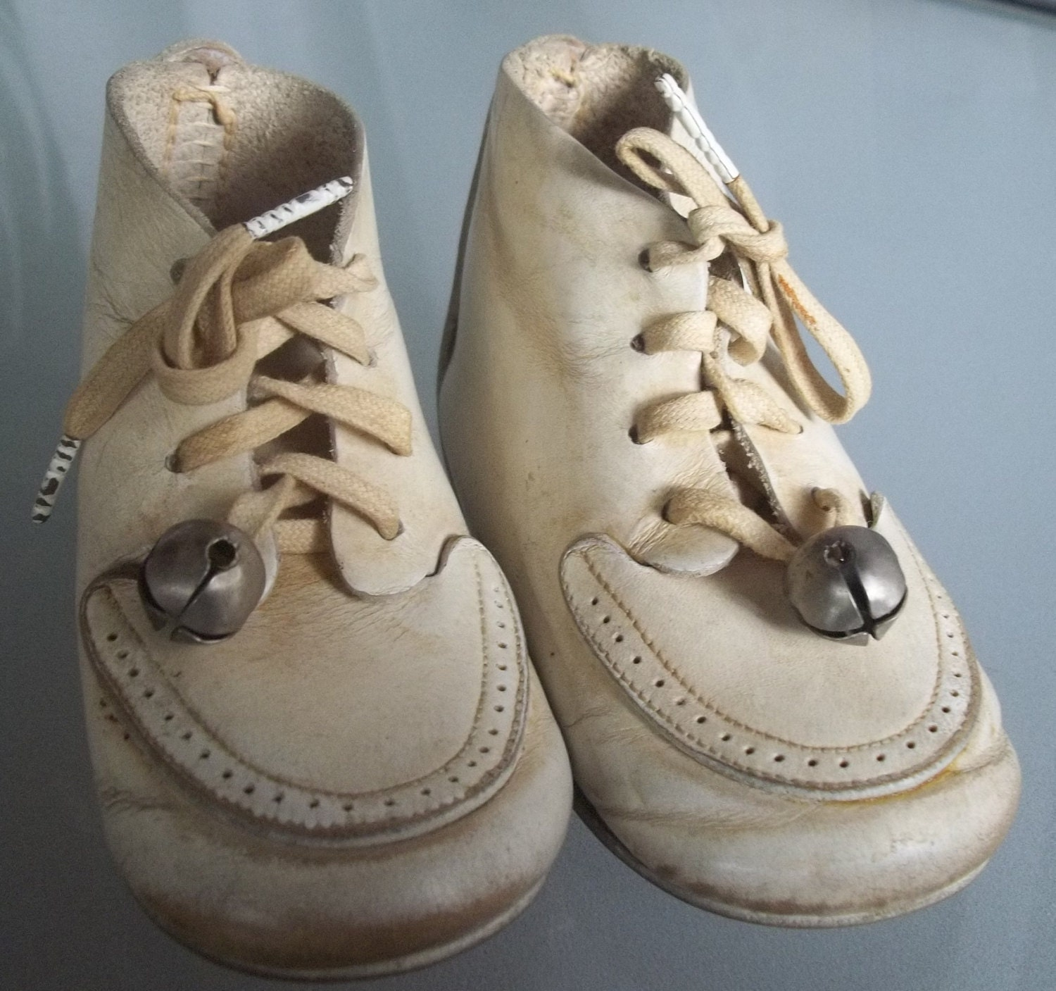 Vintage Leather Baby Shoes Bells