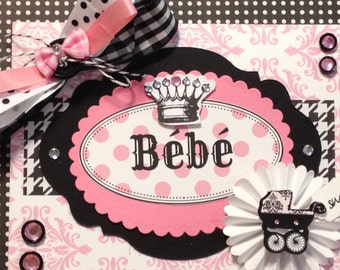 Baby Girl Card, Bebe Card, Welcome Baby Card, Baby Carriage