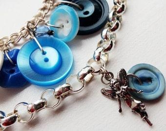Sterling Silver Blue Vintage Button Bracelet - Fringe, Fairy Charm HALF PRICE