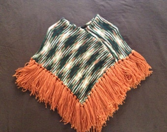 Girl's Poncho in A Rainbow of Fall Colors With Orange Fringe