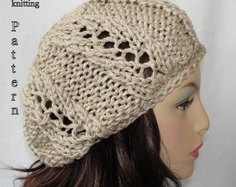 Knitted Hat Pattern, Knit slouch beanie pattern, Knit Spring Fever Slouch Beanie Pattern