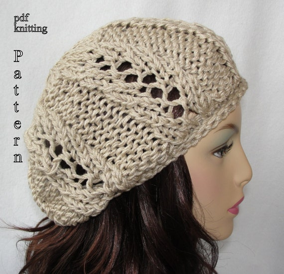 Knitted Hat Pattern Knit slouch beanie pattern Knit Spring