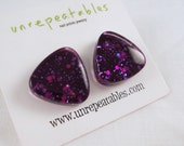 SAMPLE SALE! Cosmic Purple Glitter Nail Polish Stud Earrings. Feminine Triangle Studs Fashion Accessories. Clearance. Space. Gift. Prom.