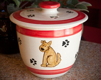 Poocher in Red- Treat Jar  (XL)