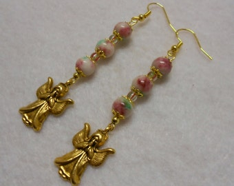 Christmas Jade Angel Earrings, Handmade Christmas Earrings, Gemstone Christmas Jewelry