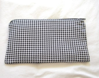 Black and White Houndstooth Fabric  Zipper Pouch / Pencil Case / Make Up Bag / Gadget Pouch