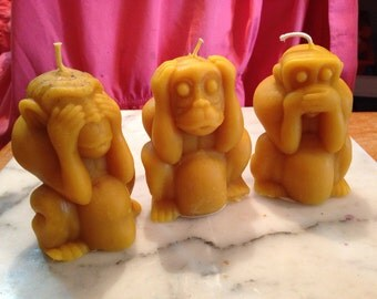 See, Hear, and Speak No Evil Monkeys Beeswax Candles